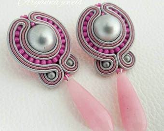 Soutache earring pink and gray