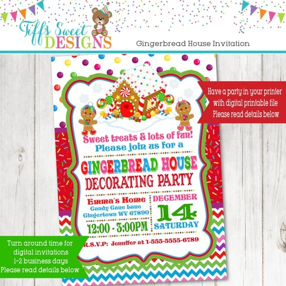 Gingerbread house decorating party gingerbread christmas Gingerbread house decorating party invitations