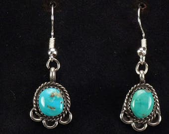 Vintage Old Native American Navajo Sterling Silver Turquoise Dangle Drop Earrings Southwestern