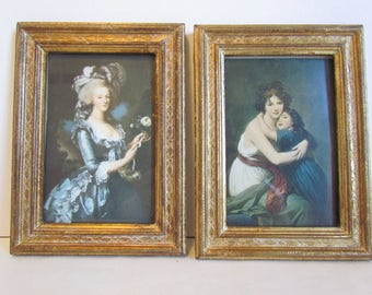 Set of Vintage Le Brun Neoclassical Portrait Prints of Fashionable Women Ladies Marie Antoinette  Wall Art  For Bedroom