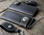 Biker Wallet Chain, Mens Leather Biker Chain Wallet - Listing #012