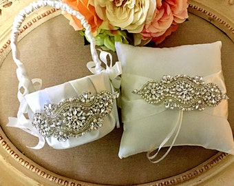 Flower Girl Basket Ring Bearer Pillow Set - Rhinestone Flower Girl Basket - Wedding Basket - Ring Bearer Pillow - Satin Flower Girl Basket