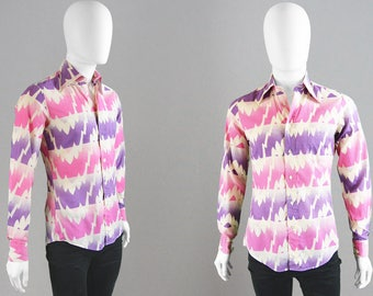 Vintage 70s Mens Disco Shirt Dagger Collar AUSTIN REED Pink & Purple Cotton Button Up Mod Mens Shirt Pointy Collar Groovy Psychedelic Print