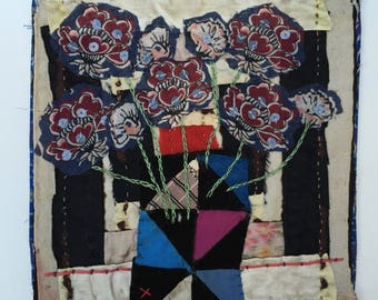 Flower Still Life.Hand Appliqued and Embroidered Textile Collage