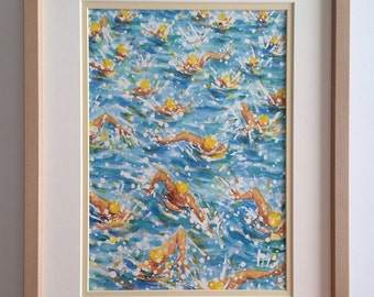 Swimmers,Original Watercolor Sketch with Wooden Frame