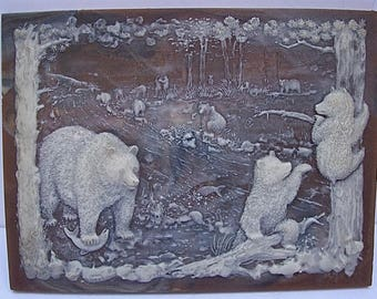 Vintage INCOLAY Art High Relief CAMEO Style Scene of BEARS in Forest with Stream