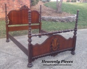 Spectacular Antique Bed, Ready to Customize, Matching Chest Available
