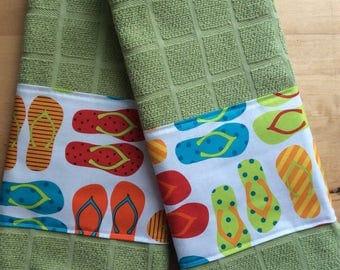 Flip Flop kitchen towels, summer kitchen towels, bar towels, towels