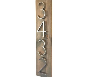 Vertical Address Plaque // Modern Rustic Address Plaque // Vertical House Number Plaque