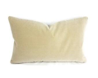 "12"" x 20"" Pollack Sedan Plush in the color Parchment - Light Tan - Beige Velvet Lumbar Pillow Cover"