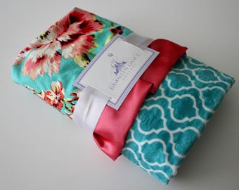 Love Bliss Bouquet Cotton Print in Teal, Coral, Peach, Turquoise, Green - Turquoise and White Trellis Minky and Coral Satin Trim Blanket