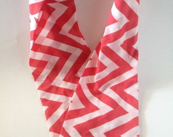 Pink and white chevron print infinity scarf