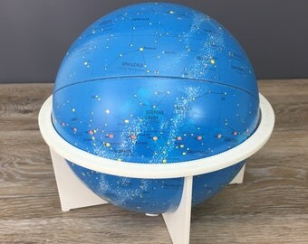 "Vintage Replogle Celestial Globe, 6"" Tin Star Chart Globe, Collectible Astronomy Constellation Science, Great Gift Item"