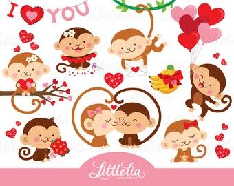 Monkey love clipart - valentine clipart - 16095