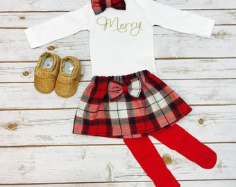 Merry Christmas outfit | Toddler Christmas Outfit | Baby Girls Christmas Outfit | 1st Christmas Outfit Girl | Christmas Dress