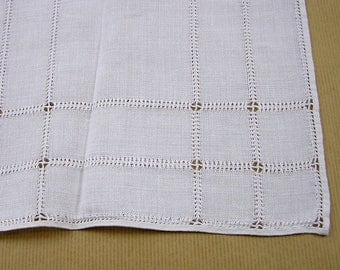 Vintage White Linen Table Runner Hem-Stitching Cutwork