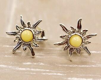 Blazing Sun Earrings Baltic Butterscotch Amber Earrings & Sterling Silver Earrings Amber from Poland Stud Earrings AE291