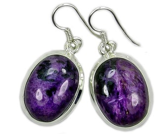 Charoite Earrings & 925 Sterling Silver Dangle Earrings ; AE628 Jewelry Gift