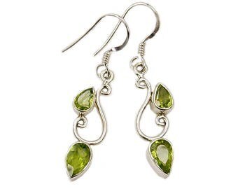 Green Simplicity Peridot Earrings & .925 Sterling Silver Dangle Earrings AF358 The Silver Plaza