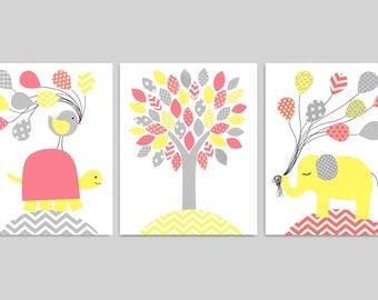Coral Yellow Grey, Baby Girl Nursery, Girl Room Decor, Baby Art Prints, Elephant Nursery, Turtle Nursery, Baby Shower Gift, Baby Room Decor