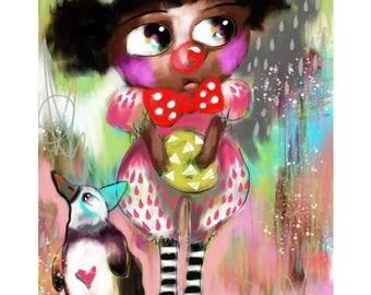 African Child - Newborn Gift - Nursery Art - I Need To Stop Clowning Around Penguin
