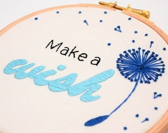 Dandelion Wish Inspirational Art 5 Inch Hand Embroidery Hoop Wall Art 'Make a wish'