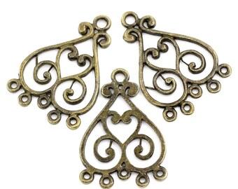 4 Large Antiqued Bronze Heart Filligree Connectors