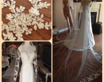 Beaded wedding veil, lace applique veil, ivory lace veil