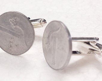 cufflinks with 1 italian lira coin