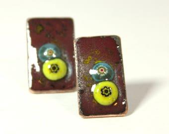 Deep red enamel stud earrings. Hand-made copper enamel jewelry.