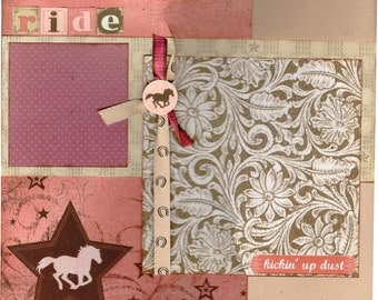 Cowgirl Scrapbooking Page Kit, 2 pages, RIDE - Kickin' Up Dust