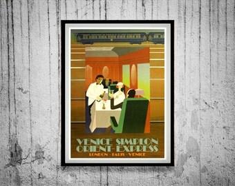 Vintage 1930s Art Deco Orient Express Railway Poster Reprint