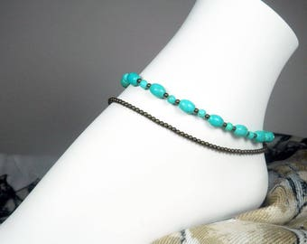"Turquoise Double Anklet - Blue Ankle Bracelet - Blue Green  Anklet - Antique Gold - Girls Size - Plus Size - 7"", 8"", 9"", 10"", 11"", 12"", 13"""