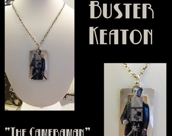 """Classic Hollywood Lovers Necklace ~ Buster Keaton """"The Cameraman"""""""