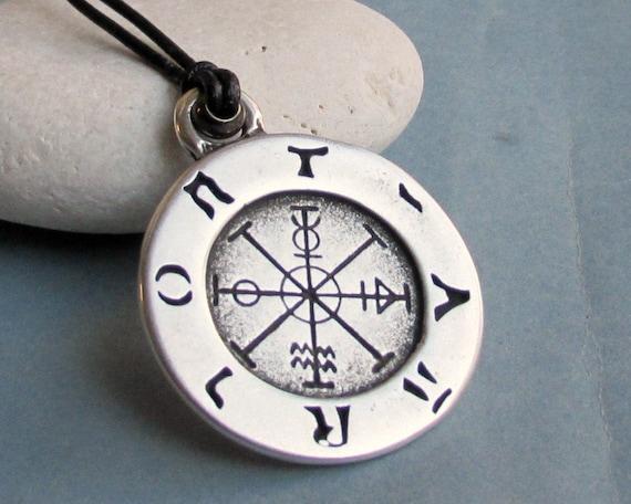Weathervane Necklace Pendant, Compass Men's Silver Charm, Leather Necklace Pendant, Adjustable