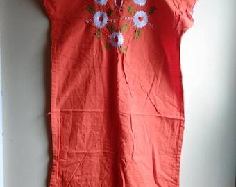 Vintage Orange and Embroidered Flower Peasant Dress/ Kaftan