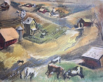 Early Farm Scenes by D. Messenger, ca. 1945 - two copies of rare originals, together; one of each, free shipping in USA