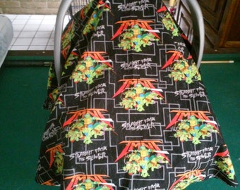 Teenage Mutant Ninja Turtles Infant Carrier Cover / Black Ninja Turtle Baby Carrier Cover /   Black Privacy Cover for Infant Carrier
