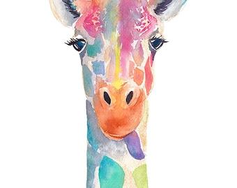 Rainbow Giraffe - Watercolor Art Prints