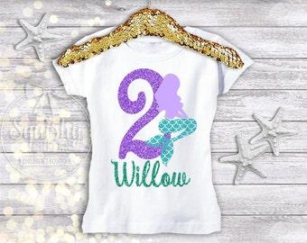 Mermaid Birthday Shirt, Mermaid 2nd Birthday, Mermaid Birthday Party, Personalized Mermaid Shirt, Mermaid Birthday, Available in Any Age
