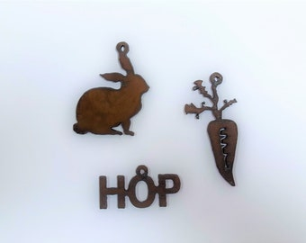 Carrot bunny hop Charm (3) mix and match charm pendants made out of rusted rusty recycled metal