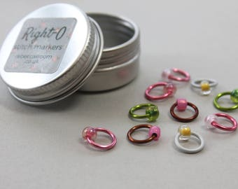 Stitch markers for knitting - CHERRY BLOSSOM with tin, knitting tools, snag free, knitting markers, knitting supplies, RIGHT-O markers