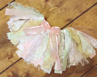 Rag Tie Tutu, Pink Mint & Gold, Shabby Chic, Vintage, Floral, Cake Smash, Photo Shoot, Fabric Scrap Tutu, Adorable