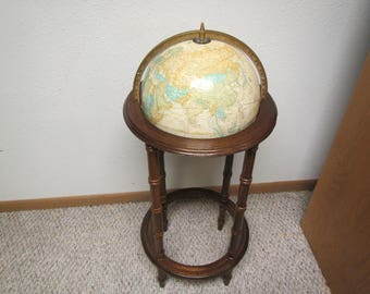 CRAM'S IMPERIAL World Globe in Wood Stand *  Raised Topography  Nice Decor addition