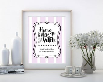 Home is Where the Wifi is, Wifi Password Sign, Guest Room Decor, Home Decor, Internet Password Print, Wifi Sign Printable, Digital Download