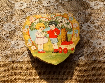 Vintage Valentine card, 1920's, girl and boy with wagon, heart shaped card, poem inside, double sided, girl on back with blue bird