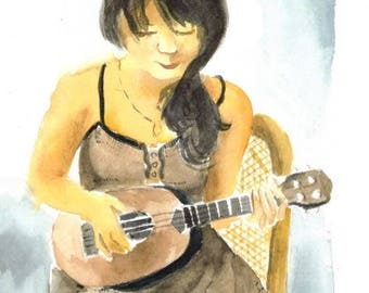 Woman playing stringed instrument