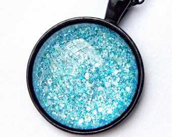Turquoise Necklace; Round Glass Pendant; Nail Polish Jewelry; Circle Pendant; Black Necklace; Glass Cabochon Pendant; Turquoise Jewelry