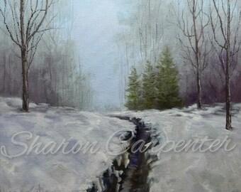 Scenic Snow Winter Landscape Painting