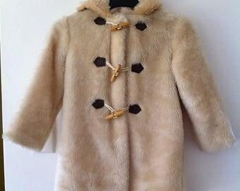 60's 70's vintage Faux Fur Childs duffle coat with HOOD Sz 5